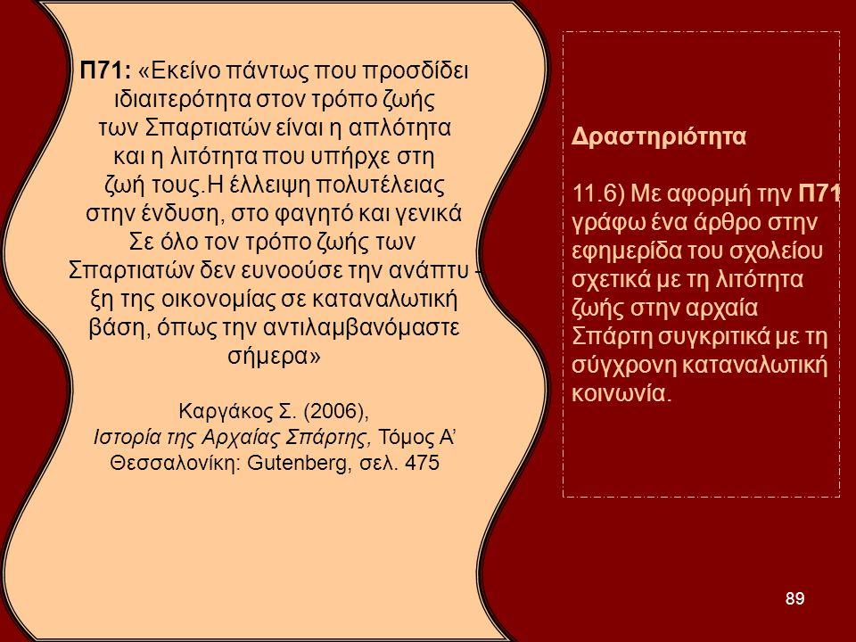 εφημερίδα του σχολείου σχετικά με τη λιτότητα ζωής στην αρχαία