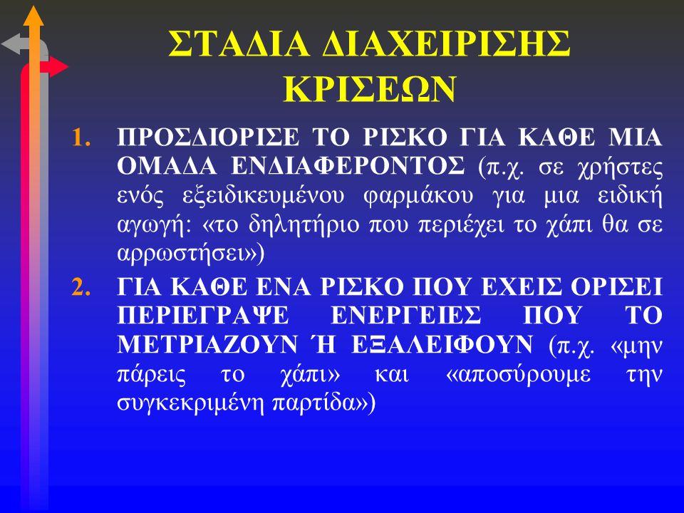 ΣΤΑΔΙΑ ΔΙΑΧΕΙΡΙΣΗΣ ΚΡΙΣΕΩΝ