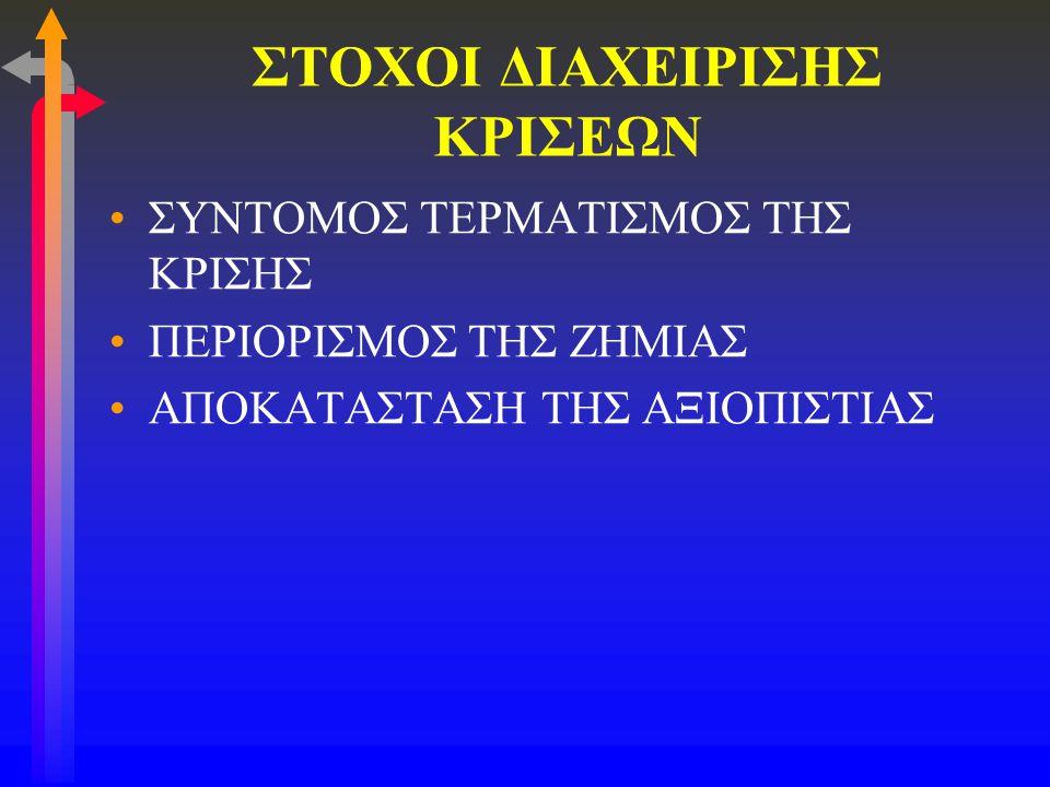 ΣΤΟΧΟΙ ΔΙΑΧΕΙΡΙΣΗΣ ΚΡΙΣΕΩΝ