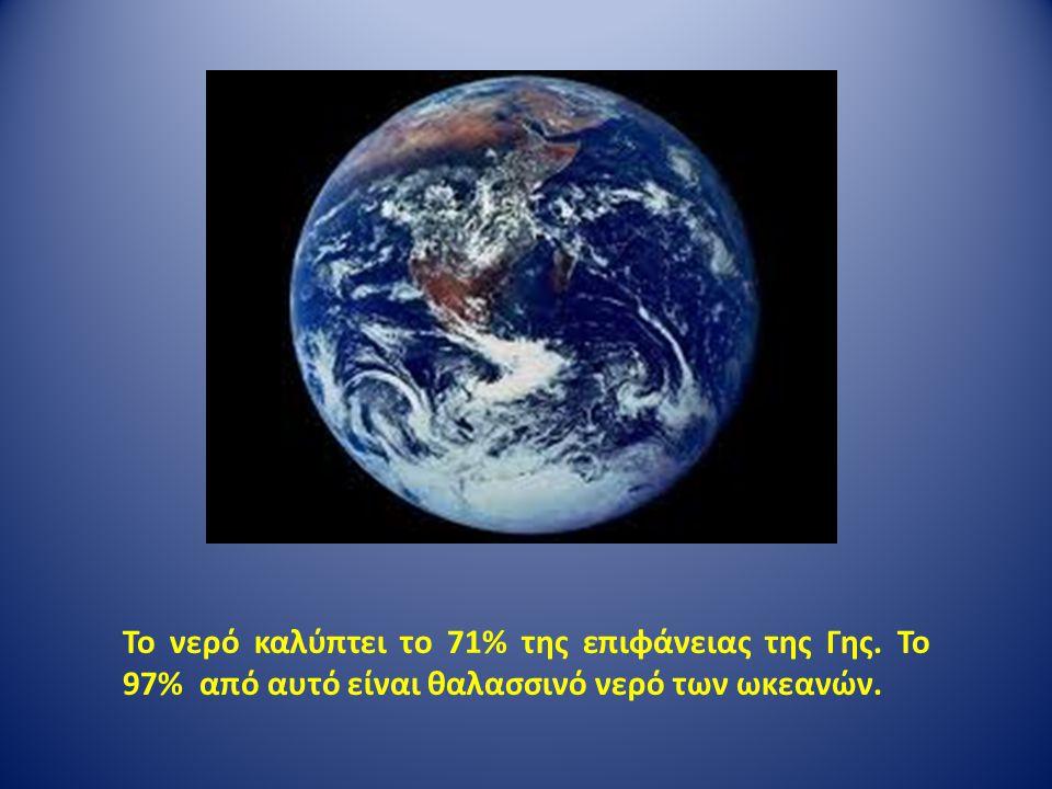 Το νερό καλύπτει το 71% της επιφάνειας της Γης