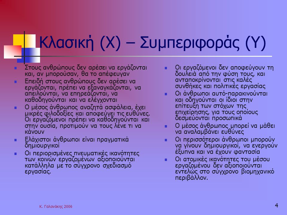 Κλασική (Χ) – Συμπεριφοράς (Υ)
