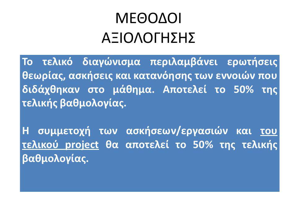 ΜΕΘΟΔΟΙ ΑΞΙΟΛΟΓΗΣΗΣ