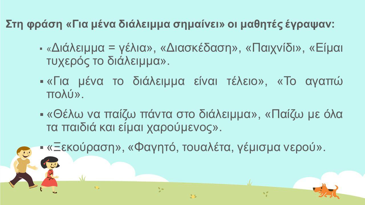 Στη φράση «Για μένα διάλειμμα σημαίνει» οι μαθητές έγραψαν: