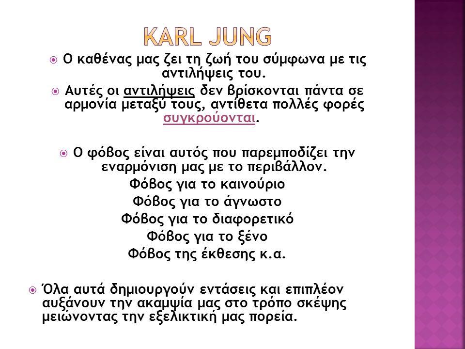 Karl Jung Ο καθένας μας ζει τη ζωή του σύμφωνα με τις αντιλήψεις του.