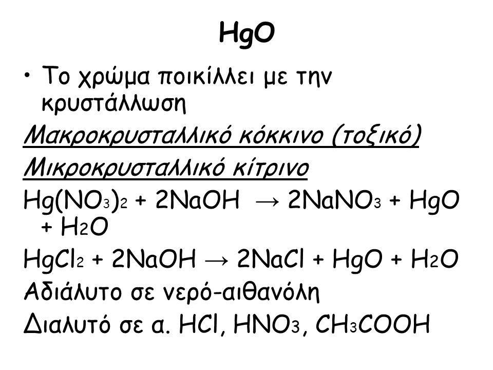 HgO Το χρώμα ποικίλλει με την κρυστάλλωση