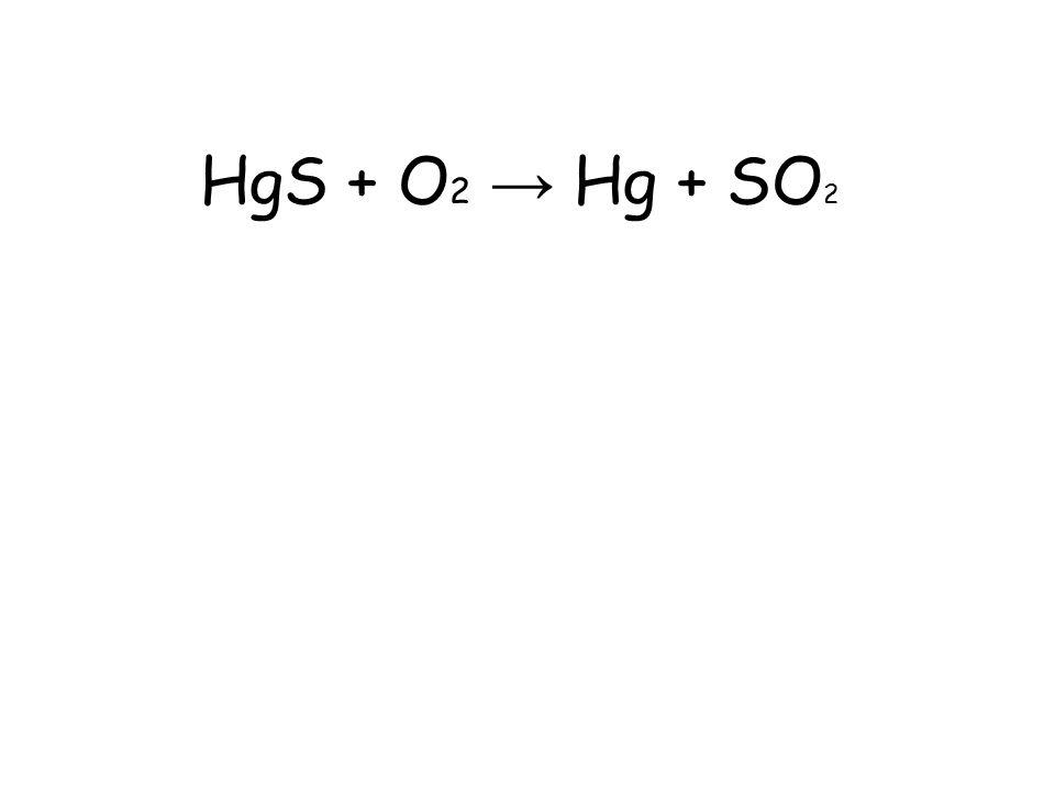 HgS + O2 → Hg + SO2