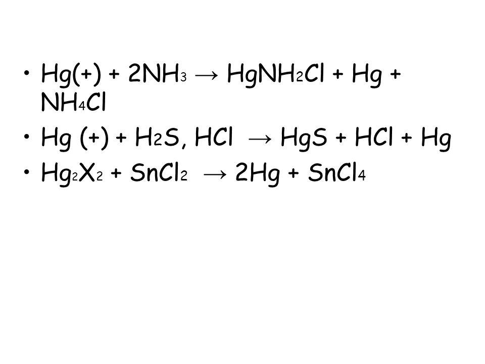 Hg(+) + 2NH3 → HgNH2Cl + Hg + NH4Cl