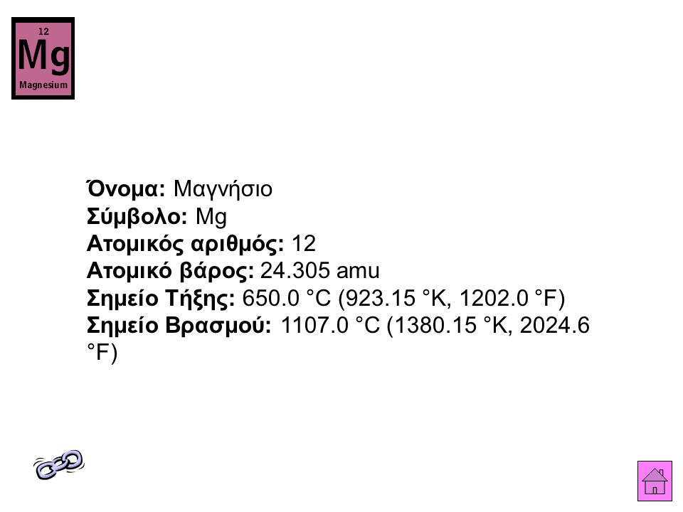 Όνομα: Μαγνήσιο Σύμβολο: Mg Ατομικός αριθμός: 12 Ατομικό βάρος: 24