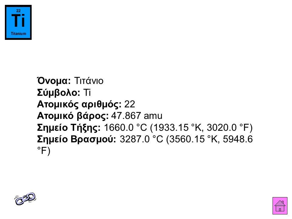 Όνομα: Τιτάνιο Σύμβολο: Ti Ατομικός αριθμός: 22 Ατομικό βάρος: 47