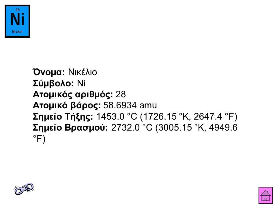 Όνομα: Νικέλιο Σύμβολο: Ni Ατομικός αριθμός: 28 Ατομικό βάρος: 58