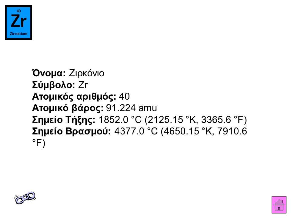 Όνομα: Ζιρκόνιο Σύμβολο: Zr Ατομικός αριθμός: 40 Ατομικό βάρος: 91