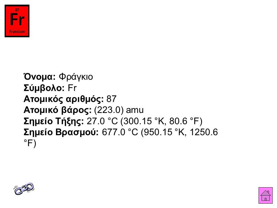 Όνομα: Φράγκιο Σύμβολο: Fr Ατομικός αριθμός: 87 Ατομικό βάρος: (223