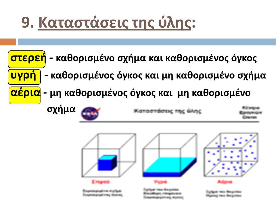 9. Καταστάσεις της ύλης: στερεή - καθορισμένο σχήμα και καθορισμένος όγκος. υγρή - καθορισμένος όγκος και μη καθορισμένο σχήμα.