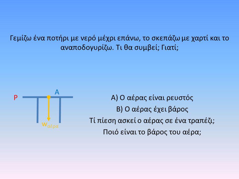 Α) Ο αέρας είναι ρευστός Β) Ο αέρας έχει βάρος