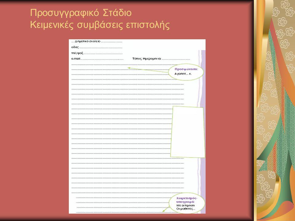 Προσυγγραφικό Στάδιο Κειμενικές συμβάσεις επιστολής