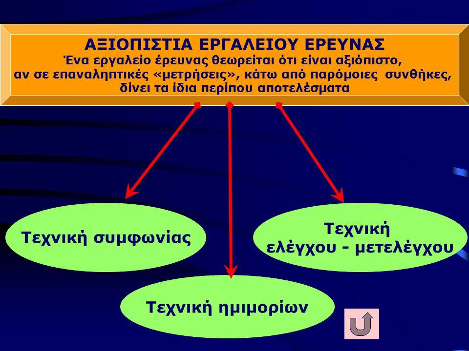 ΑΞΙΟΠΙΣΤΙΑ ΕΡΓΑΛΕΙΟΥ ΕΡΕΥΝΑΣ