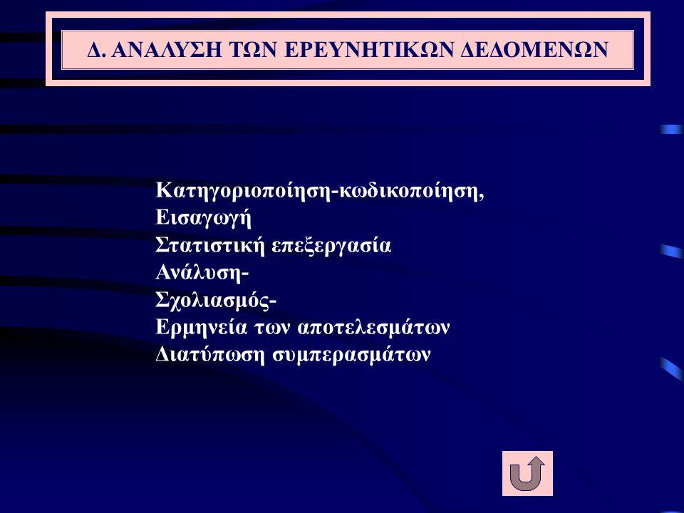 Δ. ΑΝΑΛΥΣΗ ΤΩΝ ΕΡΕΥΝΗΤΙΚΩΝ ΔΕΔΟΜΕΝΩΝ
