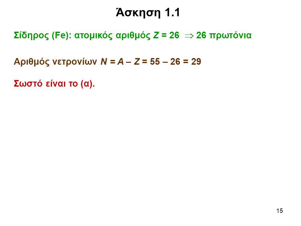 Άσκηση 1.1 Σίδηρος (Fe): ατομικός αριθμός Ζ = 26  26 πρωτόνια