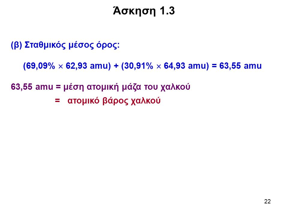 Άσκηση 1.3 (β) Σταθμικός μέσος όρος: