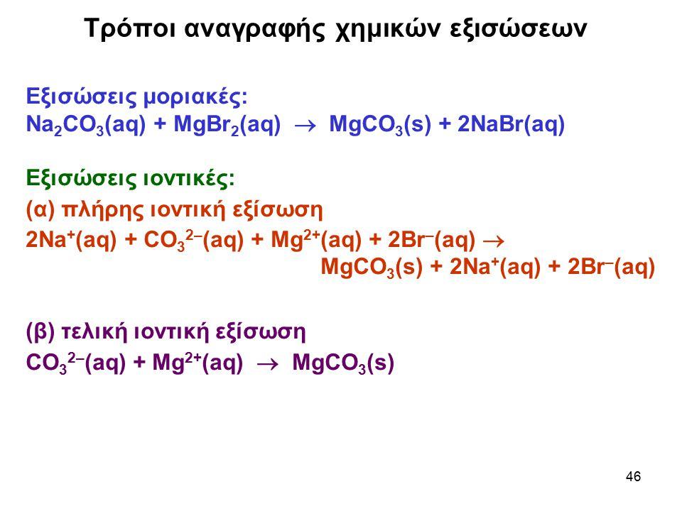 Τρόποι αναγραφής χημικών εξισώσεων