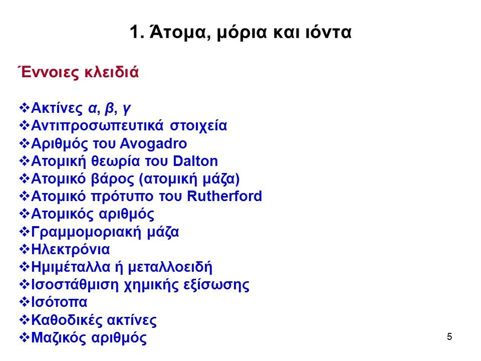 1. Άτομα, μόρια και ιόντα Έννοιες κλειδιά Ακτίνες α, β, γ
