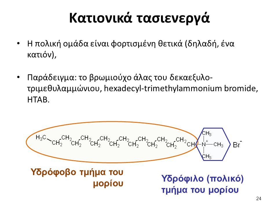 Μη ιονικά τασιενεργά Η πολική ομάδα είναι ηλεκτρικά ουδέτερη (συνήθως, ένα υδροξύλιο, συχνά σε συνδυασμό με αιθερικά οξυγόνα),