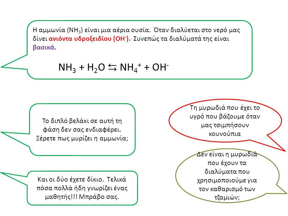 Η αμμωνία (ΝΗ3) είναι μια αέρια ουσία