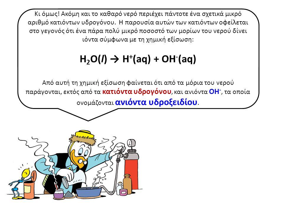 Η2Ο(l) → H+(aq) + OH-(aq)