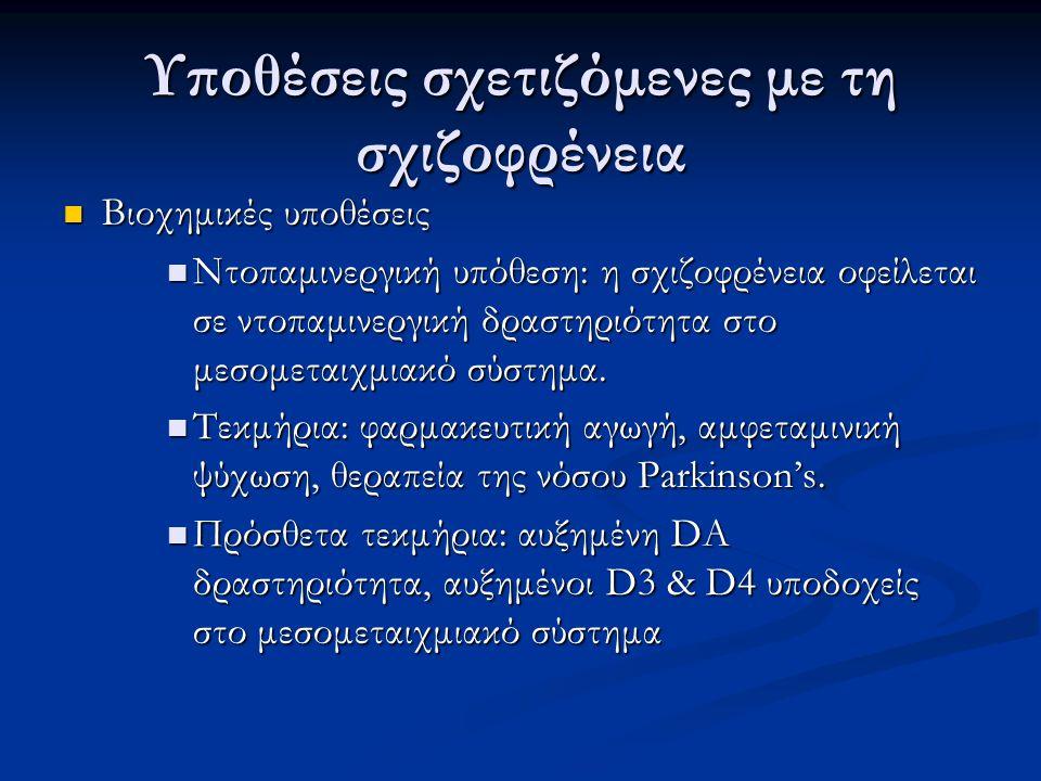 Υποθέσεις σχετιζόμενες με τη σχιζοφρένεια