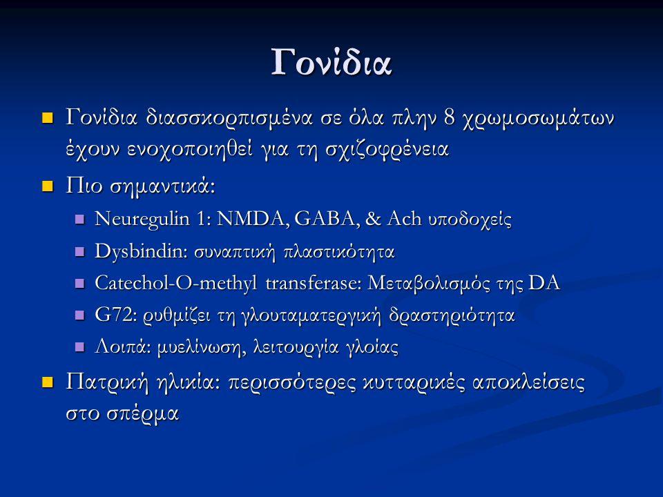 Γονίδια Γονίδια διασσκορπισμένα σε όλα πλην 8 χρωμοσωμάτων έχουν ενοχοποιηθεί για τη σχιζοφρένεια. Πιο σημαντικά: