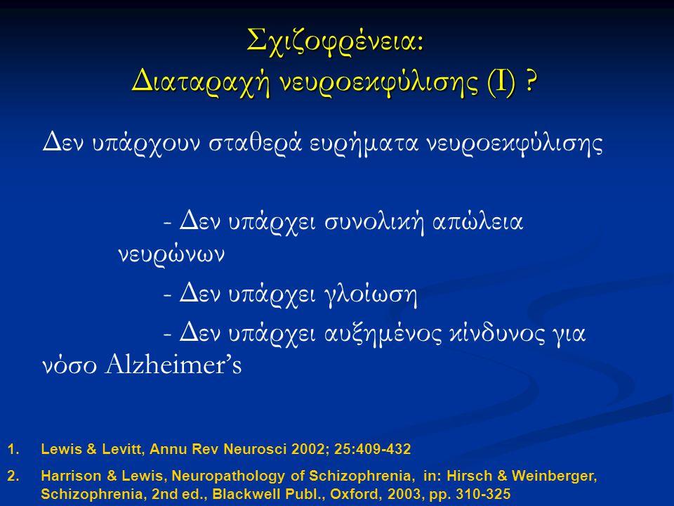 Σχιζοφρένεια: Διαταραχή νευροεκφύλισης (I)