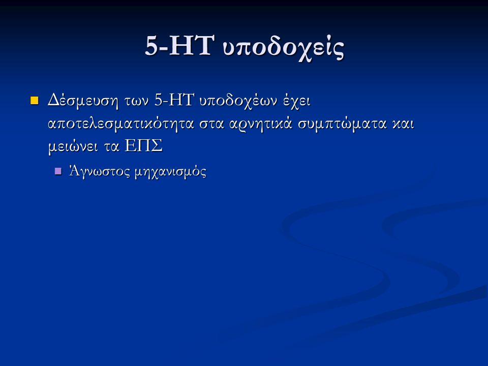5-HT υποδοχείς Δέσμευση των 5-HT υποδοχέων έχει αποτελεσματικότητα στα αρνητικά συμπτώματα και μειώνει τα ΕΠΣ.