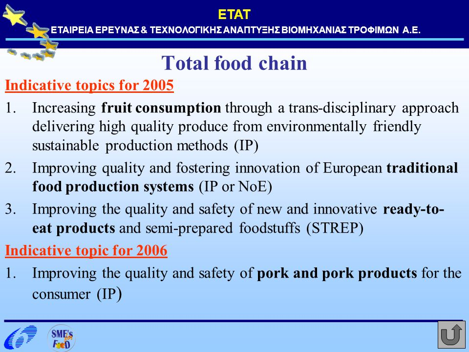 Total food chain Indicative topics for 2005