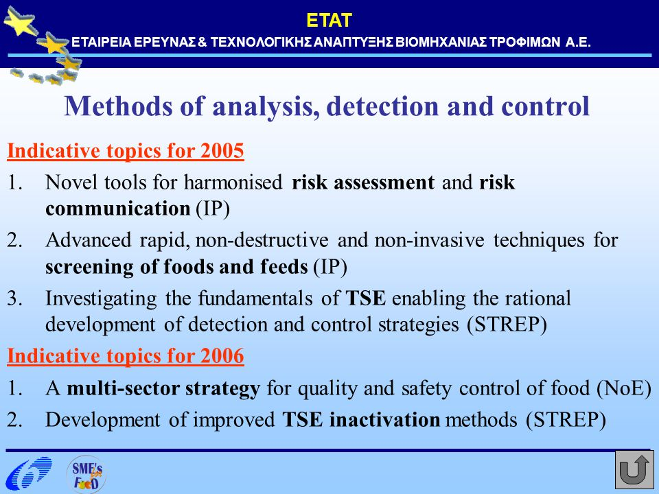 Methods of analysis, detection and control