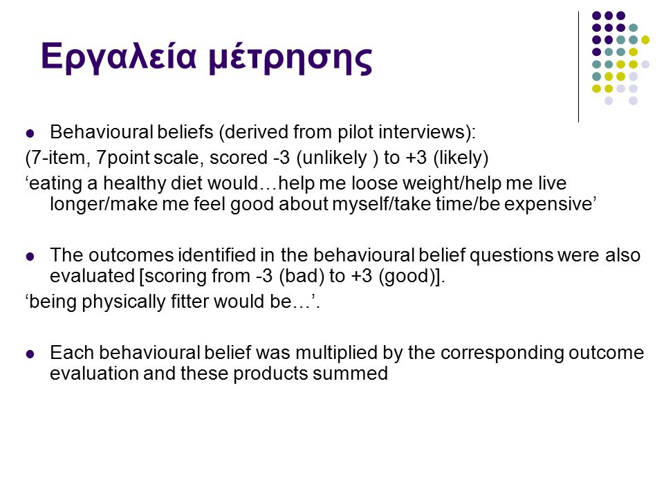 Εργαλεία μέτρησης Behavioural beliefs (derived from pilot interviews):