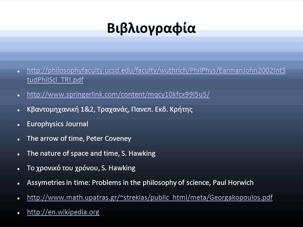 Βιβλιογραφία http://philosophyfaculty.ucsd.edu/faculty/wuthrich/PhilPhys/EarmanJohn2002IntSt udPhilSci_TRI.pdf.