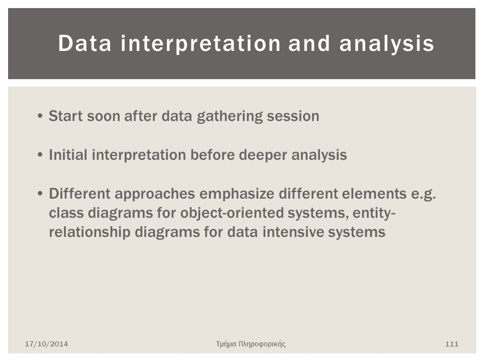 Data interpretation and analysis