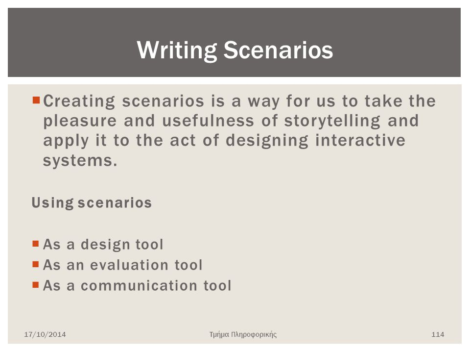 Writing Scenarios