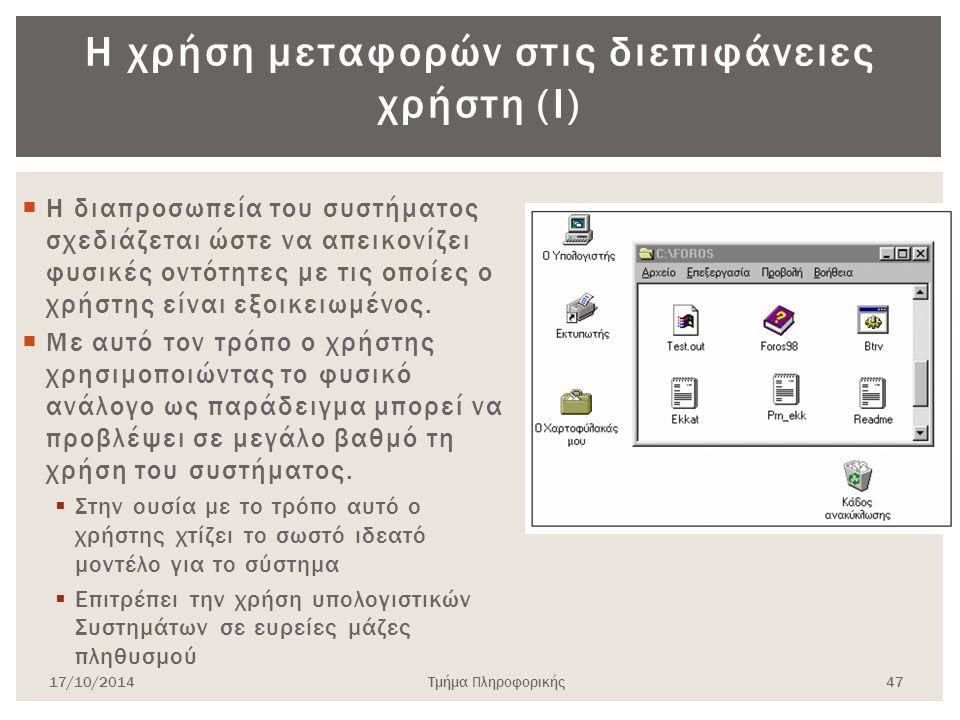 Η χρήση μεταφορών στις διεπιφάνειες χρήστη (Ι)