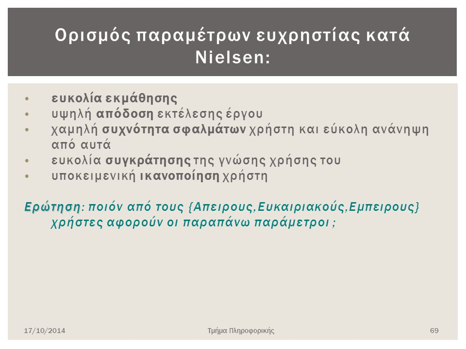 Ορισμός παραμέτρων ευχρηστίας κατά Nielsen: