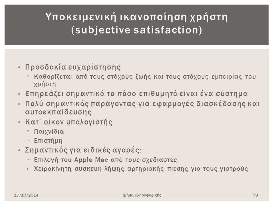 Υποκειμενική ικανοποίηση χρήστη (subjective satisfaction)