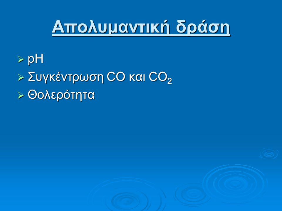 Απολυμαντική δράση pH Συγκέντρωση CO και CO2 Θολερότητα