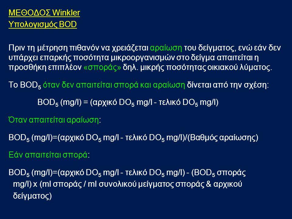 ΜΕΘΟΔΟΣ Winkler Υπολογισμός BOD.