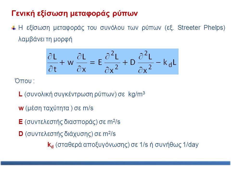 Γενική εξίσωση μεταφοράς ρύπων