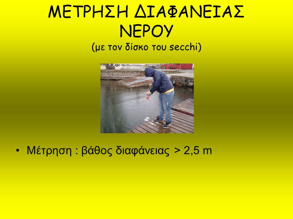 ΜΕΤΡΗΣΗ ΔΙΑΦΑΝΕΙΑΣ ΝΕΡΟΥ (με τον δίσκο του secchi)