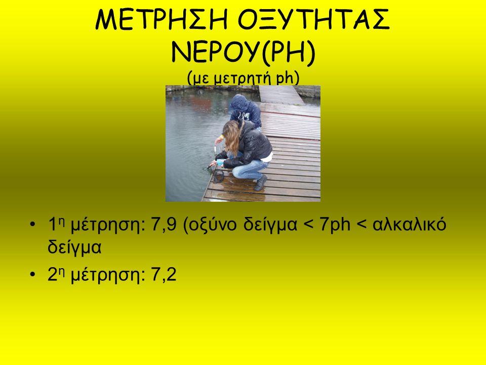 ΜΕΤΡΗΣΗ ΟΞΥΤΗΤΑΣ ΝΕΡΟΥ(PH) (με μετρητή ph)