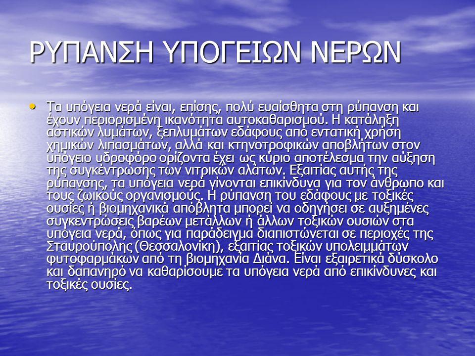 ΡΥΠΑΝΣΗ ΥΠΟΓΕΙΩΝ ΝΕΡΩΝ