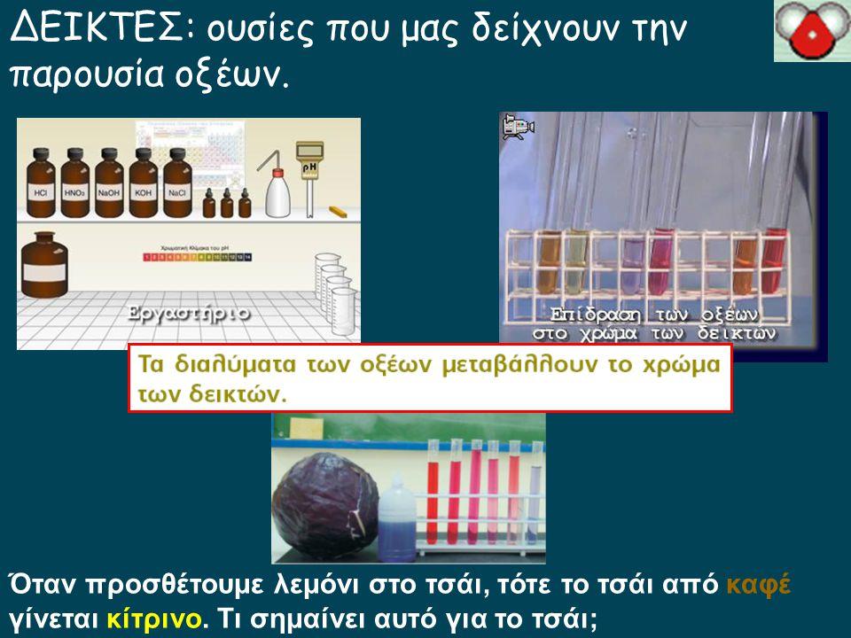 ΔΕΙΚΤΕΣ: ουσίες που μας δείχνουν την παρουσία οξέων.