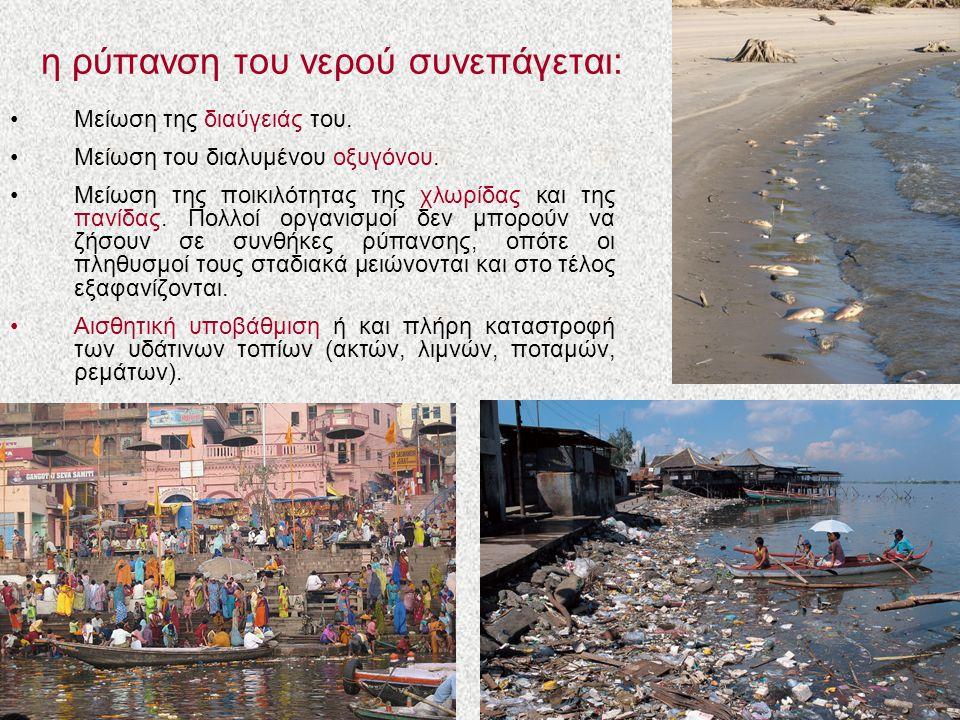 η ρύπανση του νερού συνεπάγεται:
