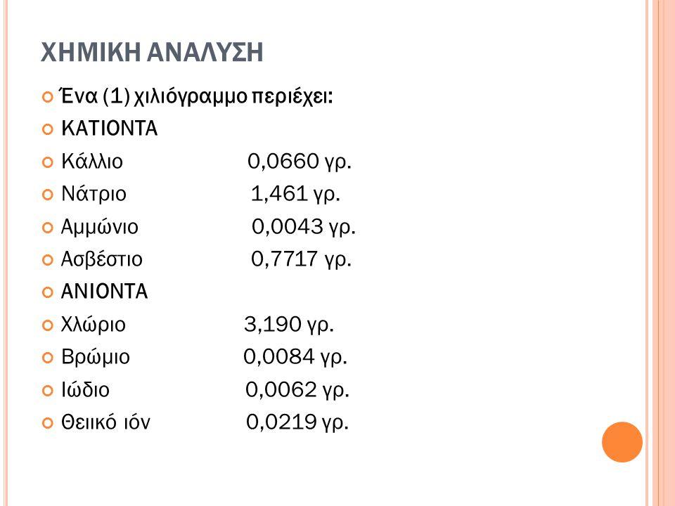 ΧΗΜΙΚΗ ΑΝΑΛΥΣΗ Ένα (1) χιλιόγραμμο περιέχει: ΚΑΤΙΟΝΤΑ
